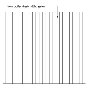 LOD 4 Elevation representation of Metal profiled sheet self-supporting cladding systems.