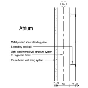LOD 5 2D Section representation of Metal profiled sheet self-supporting cladding systems.
