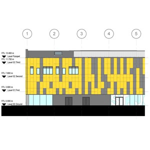 LOD 3 Elevation representation of Rigid sheet cladding systems.