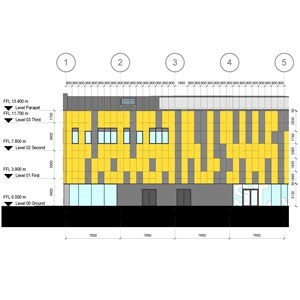 LOD 4 Elevation representation of Rigid sheet cladding systems.