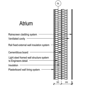 LOD 3 2D Section representation of Rail-fixed external wall insulation systems.
