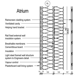 LOD 5 2D Section representation of Rail-fixed external wall insulation systems.