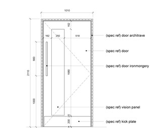 LOD 5 Elevation representation of Door hardware systems.
