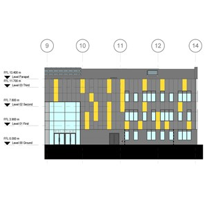 LOD 3 Elevation representation of Bead-fixed insulating glazing systems.