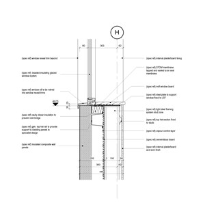 LOD 5 2D Detail representation of Bead-fixed insulating glazing systems.