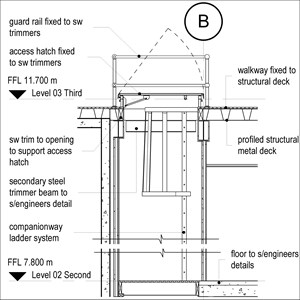 LOD 3 2D Section representation of Companionway ladder systems.