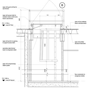 LOD 5 2D Section representation of Companionway ladder systems.