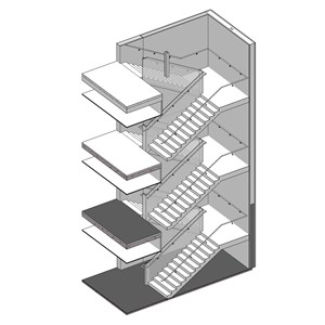 LOD 3 Model representation of Straight internal stair systems.