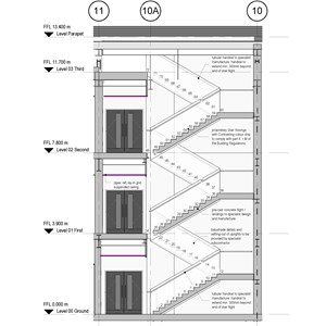 LOD 3 2D Section representation of Straight internal stair systems.