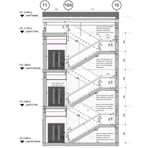 LOD 5 2D Section representation of Straight internal stair systems.
