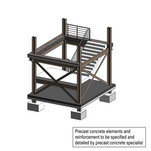 LOD 4 Model representation of Precast concrete stair or ramp systems.