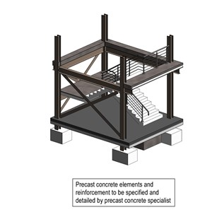 LOD 5 Model representation of Precast concrete stair or ramp systems.