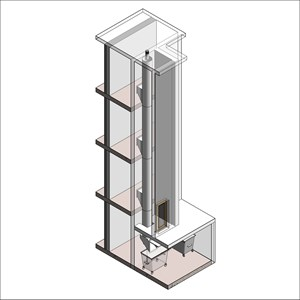 LOD 5 Model representation of Post-fixed linen chute systems.