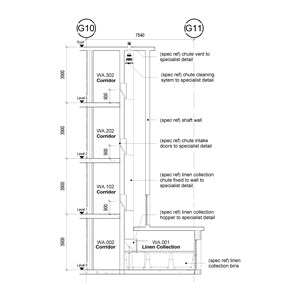 LOD 5 2D Section representation of Post-fixed linen chute systems.