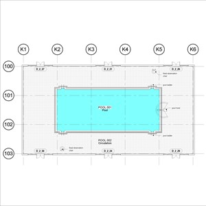 LOD 3 Plan representation of Swimming pool wall tiling systems.