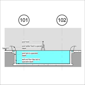 LOD 3 2D Section representation of Swimming pool wall tiling systems.