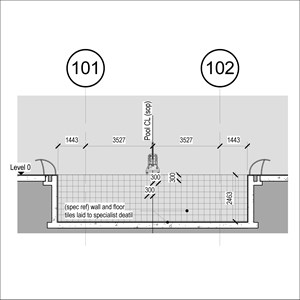 LOD 4 Elevation representation of Swimming pool wall tiling systems.