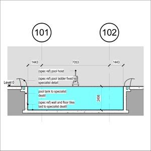 LOD 5 2D Section representation of Swimming pool wall tiling systems.
