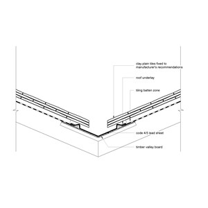 LOD 3 2D Detail representation of Lead sheet wall flashing and weathering systems.