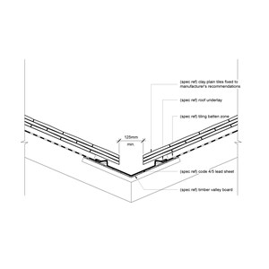 LOD 5 2D Detail representation of Lead sheet wall flashing and weathering systems.
