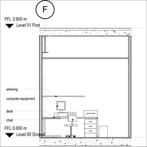 LOD 3 Elevation representation of Office FF&E systems.