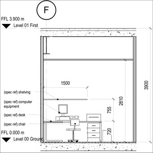 LOD 4 Elevation representation of Office FF&E systems.