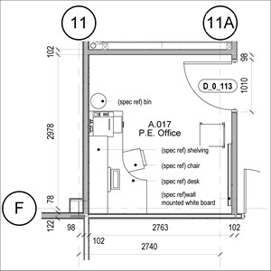 LOD 5 Plan representation of Office FF&E systems.