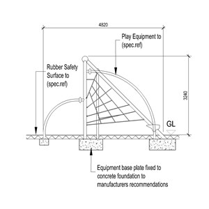 LOD 5 2D Section representation of Playground equipment systems.