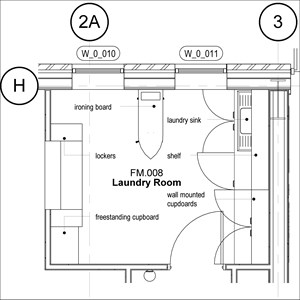 LOD 3 Plan representation of Commercial laundry FF&E systems.