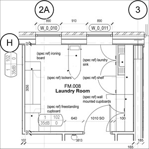 LOD 5 Plan representation of Commercial laundry FF&E systems.