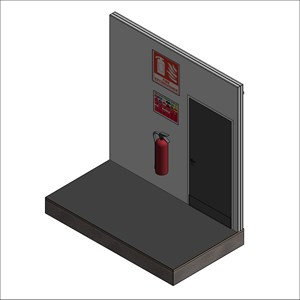 LOD 5 Model representation of Portable fire extinguisher systems.