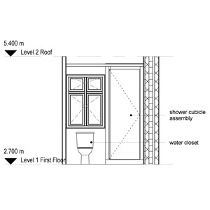 LOD 3 Elevation representation of Shower cubicle systems.