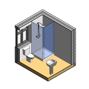 LOD 3 Model representation of Shower cubicle systems.