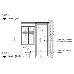 LOD 4 Elevation representation of Shower cubicle systems.