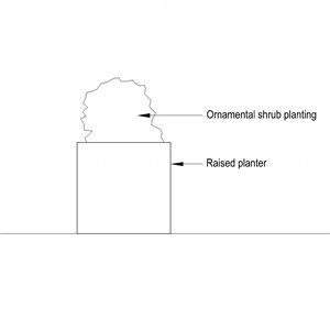 LOD 3 2D Section representation of Free standing external container planting systems.