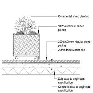 LOD 4 2D Section representation of Free standing external container planting systems.