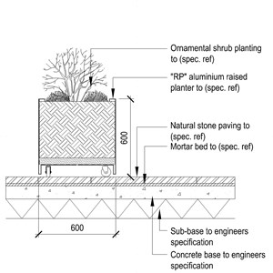 LOD 5 2D Section representation of Free standing external container planting systems.