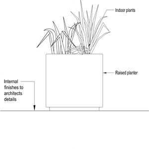 LOD 3 2D Section representation of Internal planter systems.