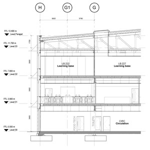 LOD 5 2D Section representation of Modular unit vertical planting systems.