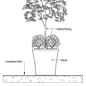 LOD 4 2D Section representation of Internal artificial planting systems.
