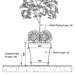 LOD 5 2D Section representation of Internal artificial planting systems.