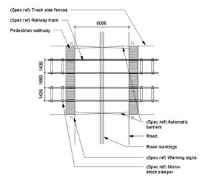 LOD 4 Plan representation of Modular panel level crossings.