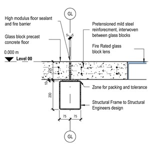 LOD 4 2D Detail representation of Glazed floorlight panels.