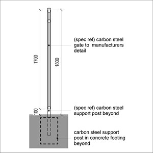 LOD 4 2D Section representation of Carbon steel gates.