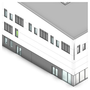 LOD 2 Model representation of Aluminium louvre panel units.