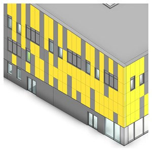 LOD 3 Model representation of Aluminium louvre panel units.