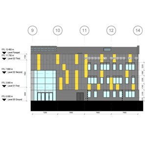 LOD 4 Elevation representation of Aluminium louvre panel units.