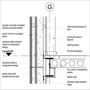 LOD 3 2D Section representation of Concrete structural insulated panels (SIPs).