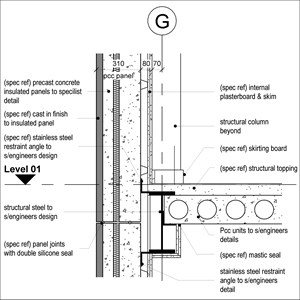 LOD 4 2D Section representation of Concrete structural insulated panels (SIPs).