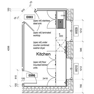 LOD 5 Plan representation of Laundry washer-dryers.